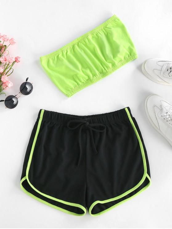 best ZAFUL Neon Strapless Co Ord Set - GREEN YELLOW M