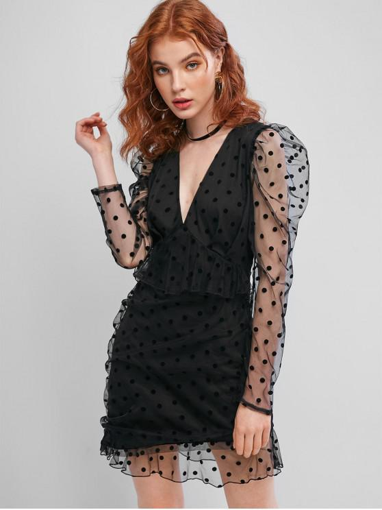 ladies ZAFUL Long Sleeve Polka Dot Mesh Mini Dress - BLACK XL