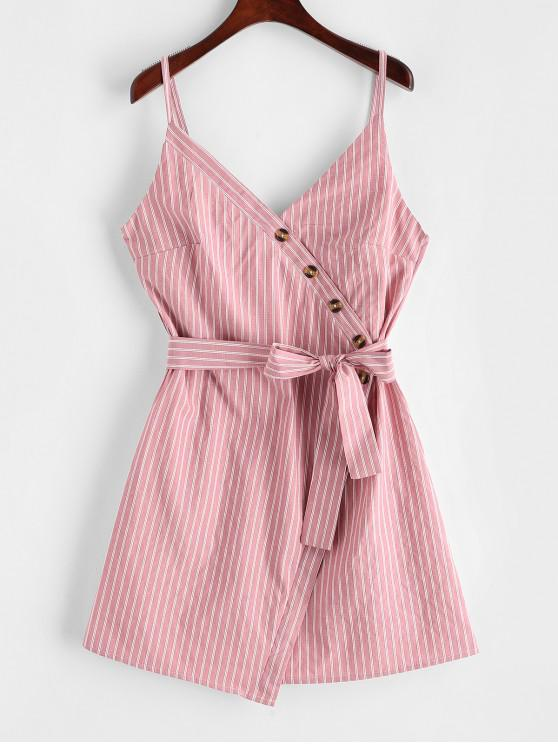 outfit ZAFUL Buttoned Stripes Cami Dress - ROSE S