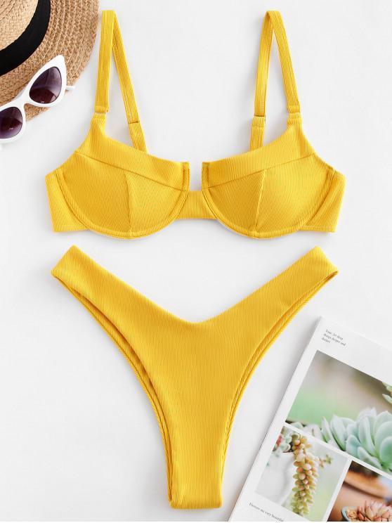 ZAFUL Ferretto costine taglio alto Bikini Swimsuit - Giallo Luminoso L
