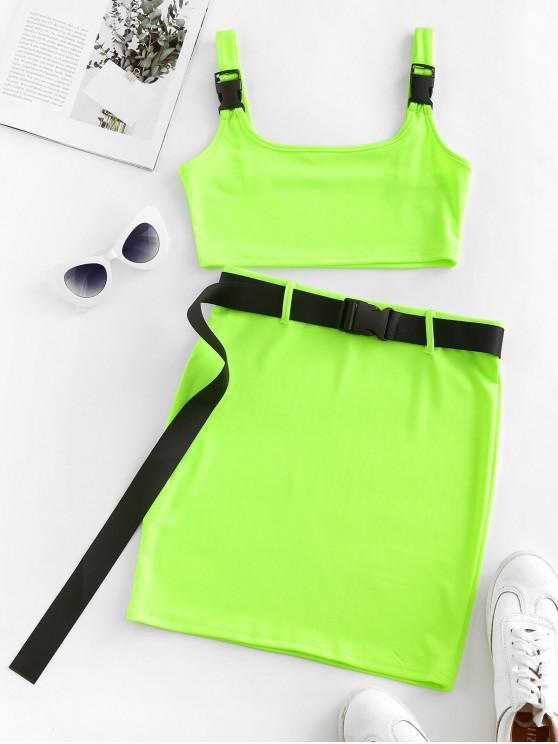 Neon con cintura aderente vestito a due pezzi - Verde L