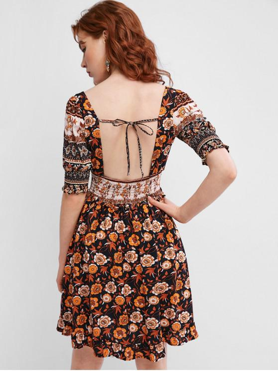 chic Smocked Open Back Tie Collar Floral Milkmaid Dress - BLACK L