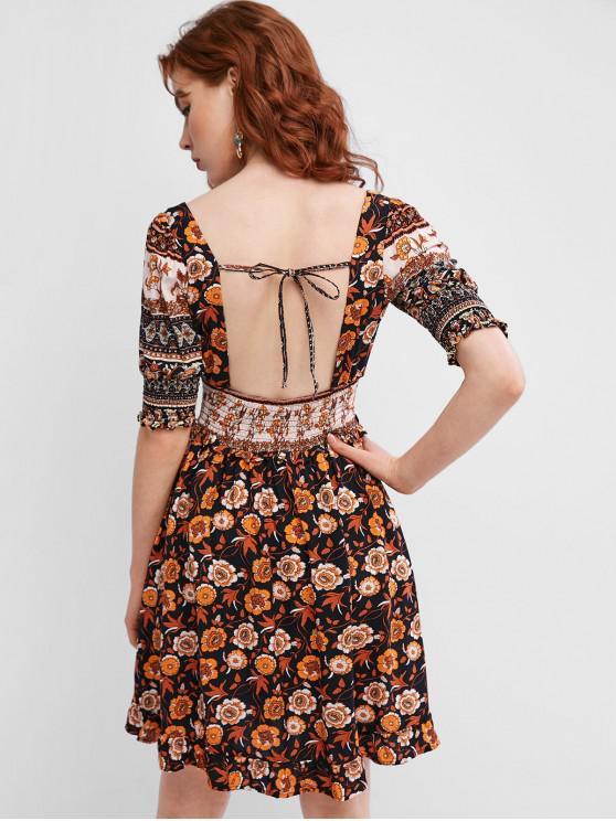 fashion Smocked Open Back Tie Collar Floral Milkmaid Dress - BLACK M