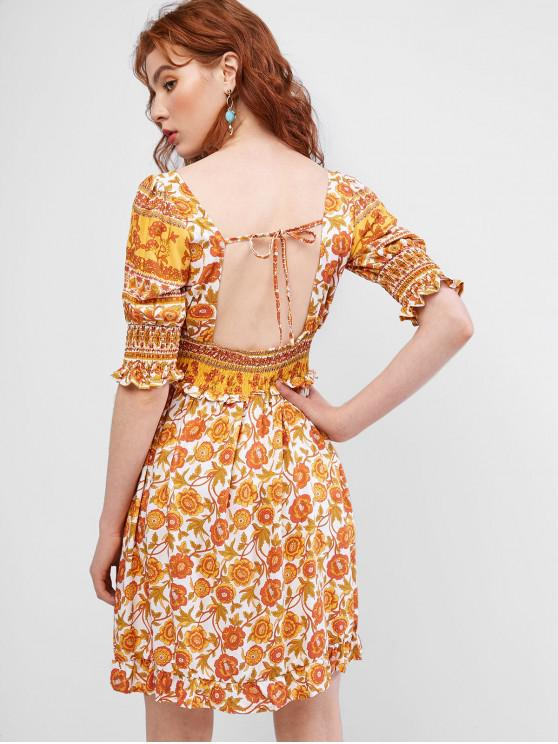 womens Smocked Open Back Tie Collar Floral Milkmaid Dress - YELLOW L