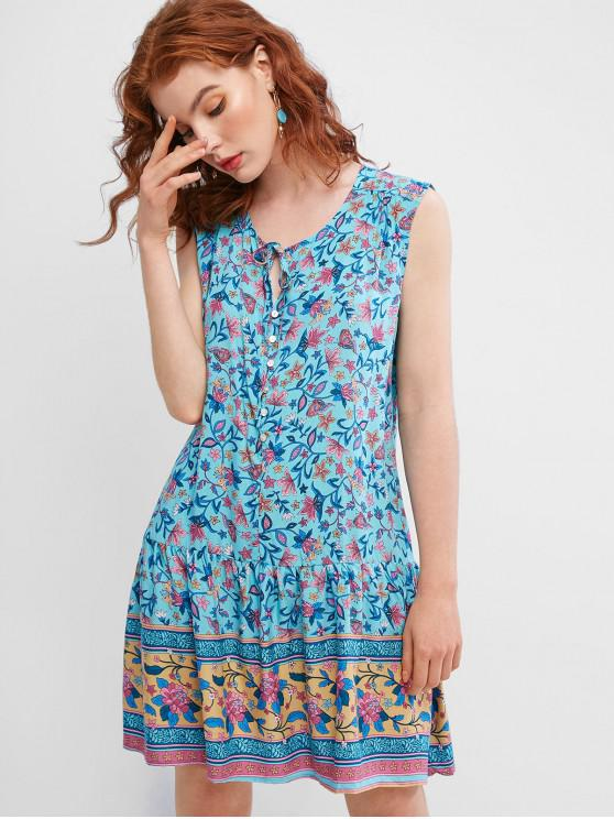ladies Sleeveless Floral Tie Collar Mini Dress - MULTI-B M