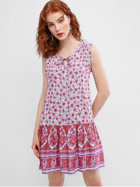 lady Sleeveless Floral Tie Collar Mini Dress - MULTI-A M