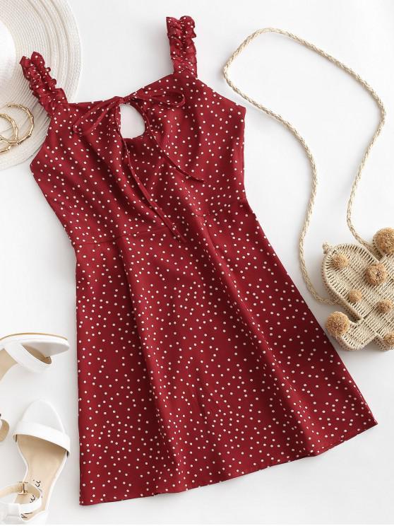 圓點並列荷葉肩帶連衣裙 - 紅酒 L