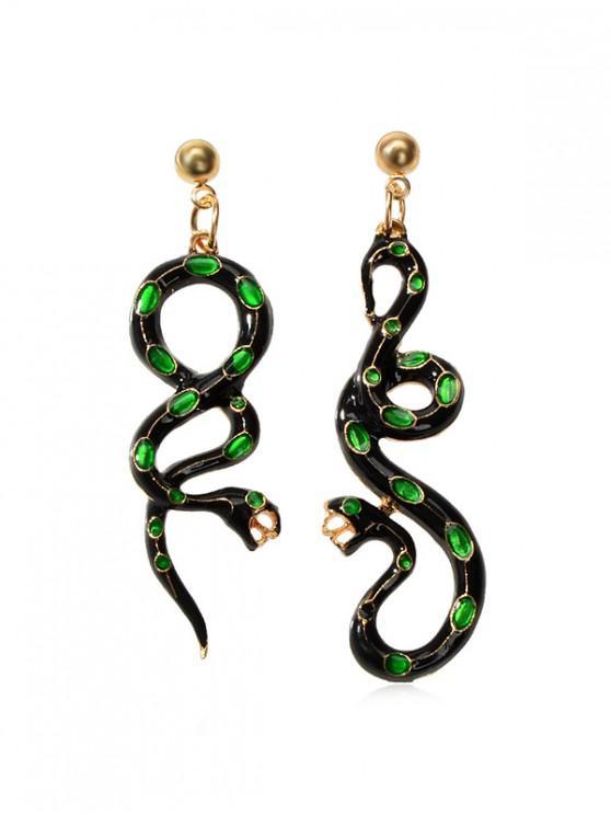 Pendientes de la serpiente asimétrica del esmalte - Verde Oscuro