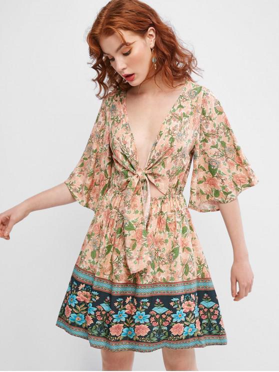 latest Floral Print Tie Front A Line Dress - MULTI S