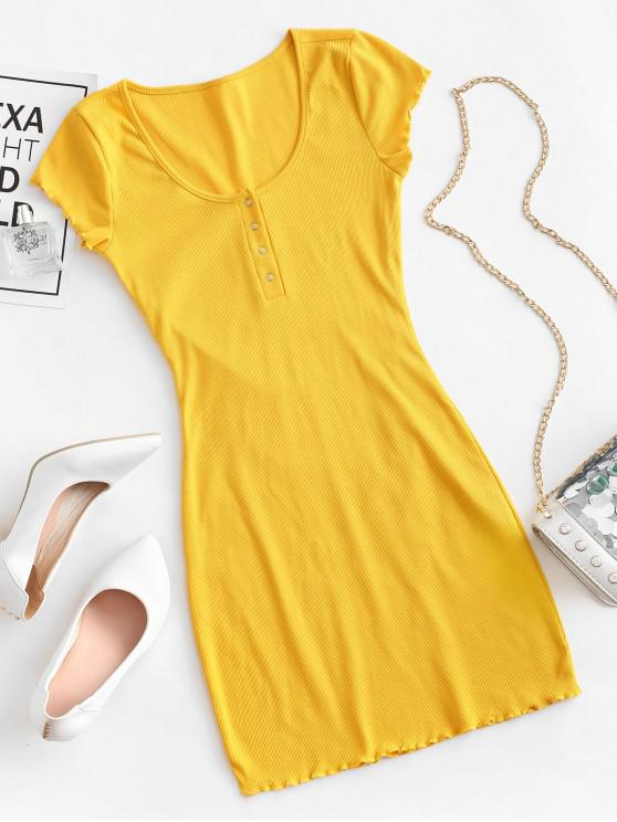womens Lettuce Trim Snap Button Ribbed Bodycon Dress - YELLOW M