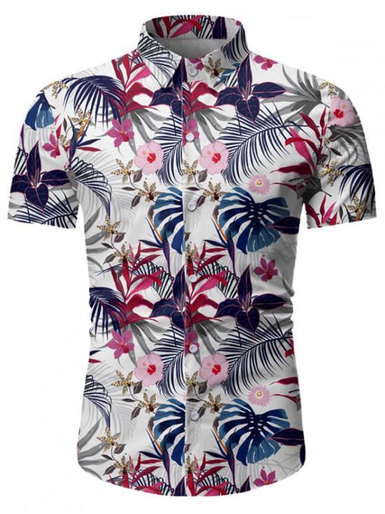 fancy Leaf Flower Pattern Short Sleeves Shirt - WHITE 3XL