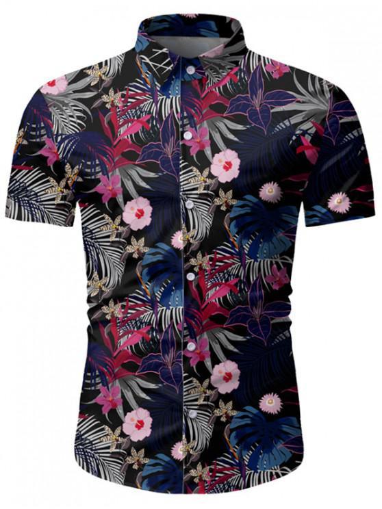 hot Leaf Flower Pattern Short Sleeves Shirt - BLACK 3XL