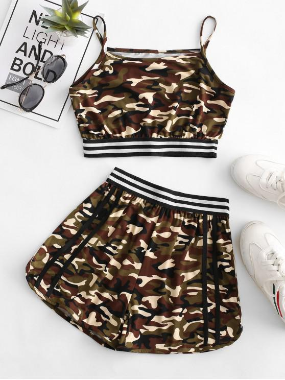 shop Camo Striped High Waisted Shorts Set - MULTI-A S