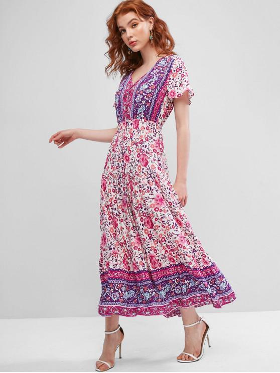 chic Tie Waist Floral Button Loop Maxi Dress - MULTI M