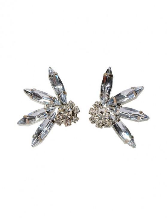 Pendientes de diamante de imitación floral - Plata
