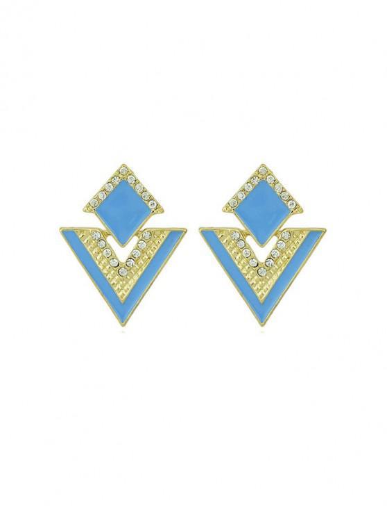 Pendientes del diseño geométrico del Rhinestone - Azul Océano