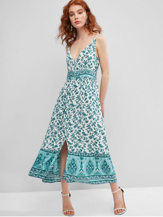 latest Tiny Floral Button Loop Cami Dress - GREEN L