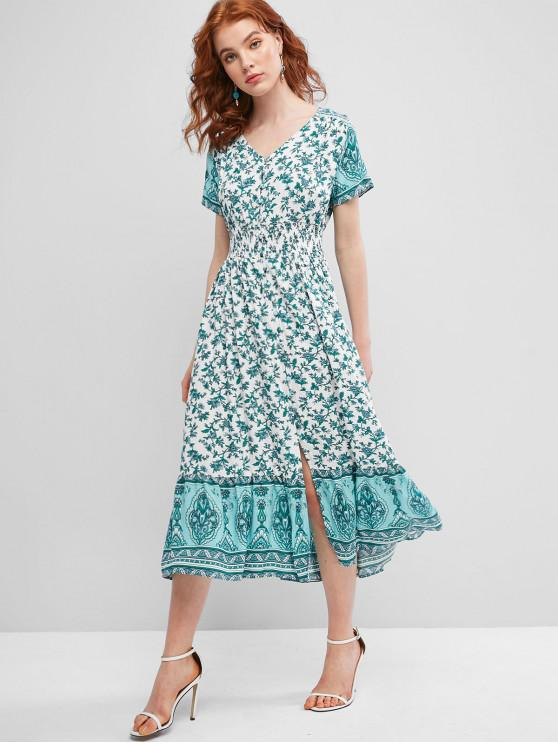 womens Tiny Floral Smocked Button Loop Maxi Dress - GREEN M