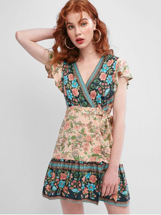 best Flutter Sleeve Floral Wrap Mini Dress - MULTI M