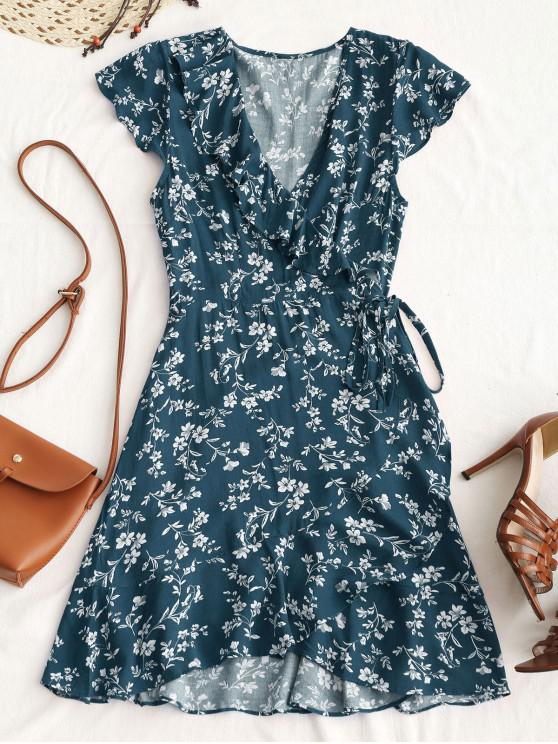 outfit Tiny Floral Ruffle Mini Wrap Dress - PEACOCK BLUE L