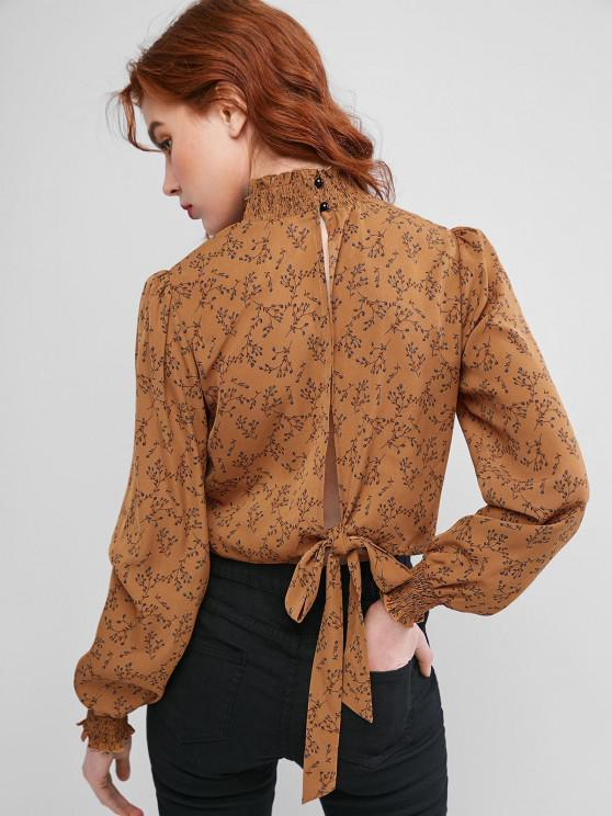 affordable ZAFUL Ruff Collar Ditsy Print Tie Cutout Blouse - BROWN M