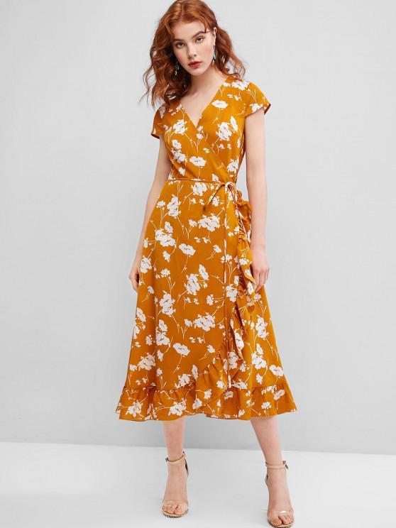 fashion ZAFUL Flower Ruffle Cap Sleeve Wrap Dress - ORANGE GOLD S