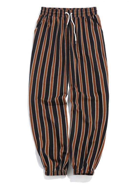 ZAFUL Stripes Print Drawstring Jogger Pants - أسود 2XL