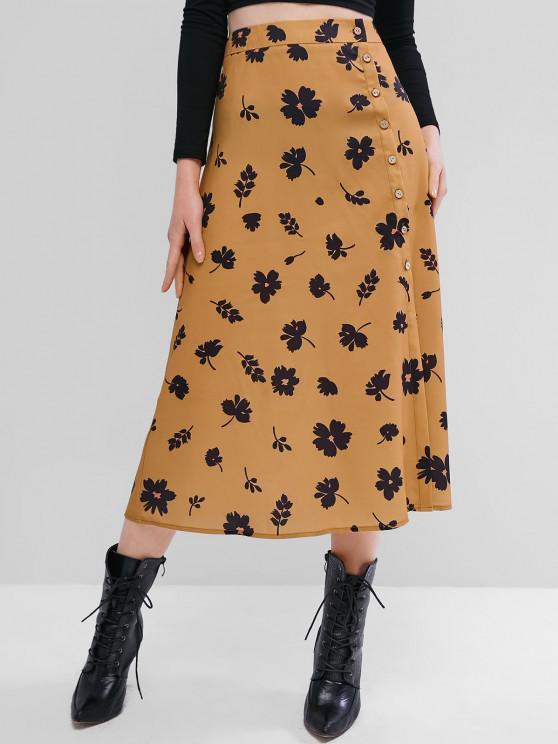 women ZAFUL Flower Button Through Midi Skirt - TIGER ORANGE L