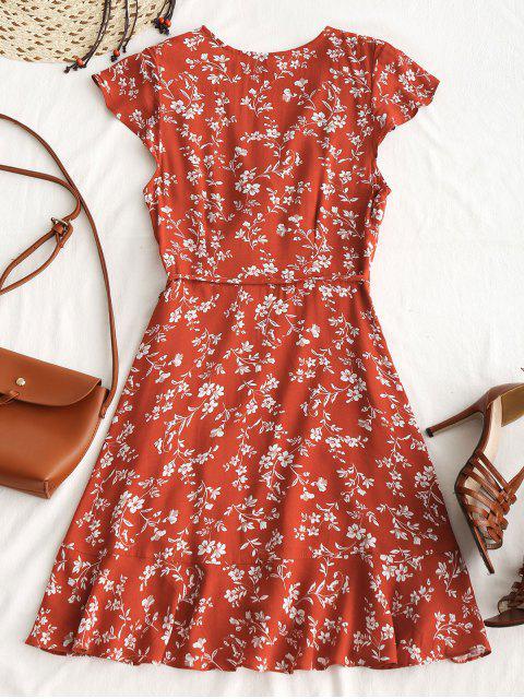 Robe Courte Cache-Coeur Florale à Volants - Brique rouge L Mobile