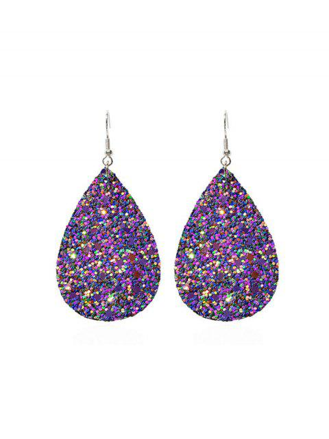 Sequined Water Drop Shape Hook Earrings - 道奇藍  Mobile