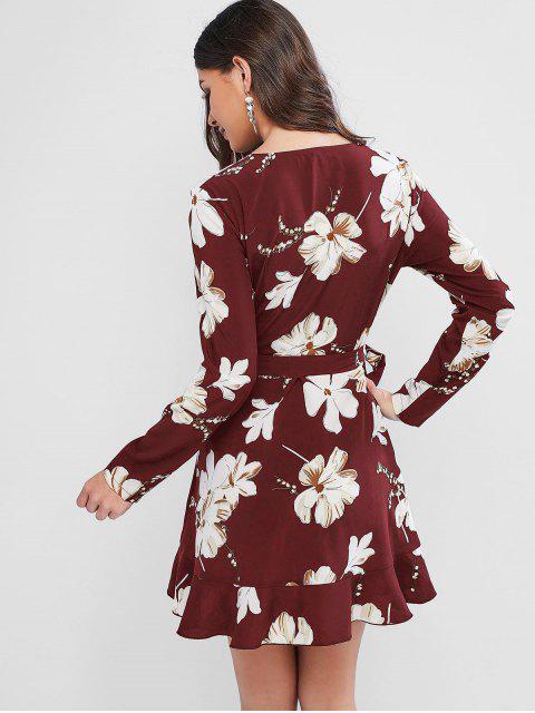 ZAFUL Mini Robe Fleur à Volants - Rouge Vineux XL Mobile