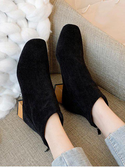 women's Square Toe Chenille Clog Heel Ankle Boots - BLACK EU 38 Mobile