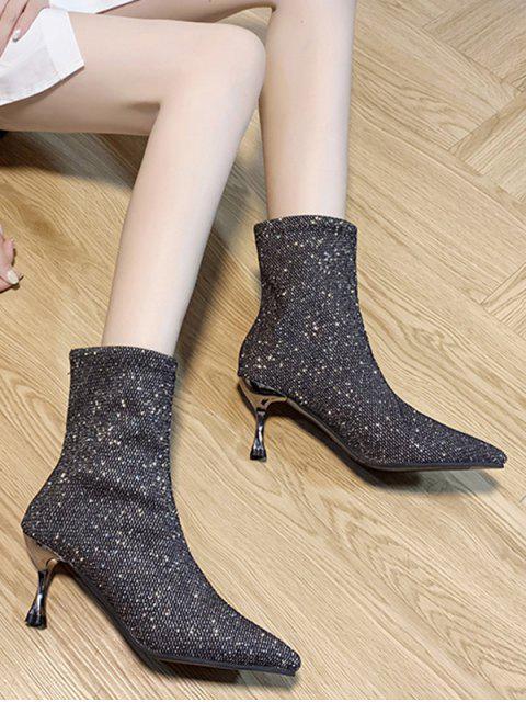 Женские Модные Сапоги На Высоких Каблуках С Острым Носом И Повязкой - Серый ЕС 36 Mobile