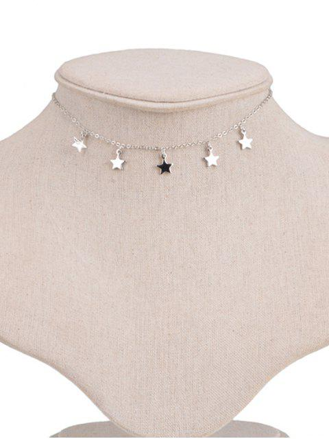 fashion Star Pendant Adjustable Chain Choker Necklace - SILVER  Mobile