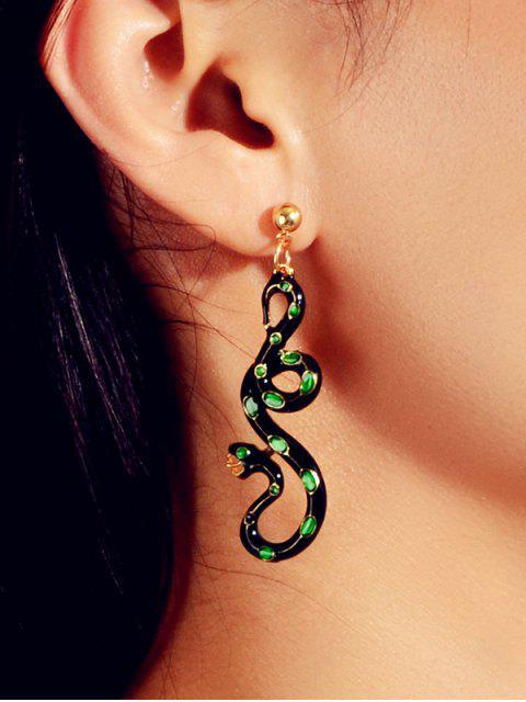 Асимметричные Серьги Эмаль Змея - Темно-зеленый   Mobile