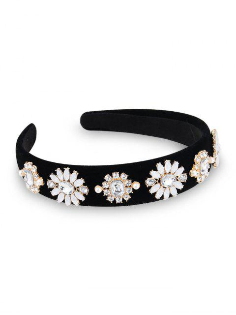 women's Rhinestone Floral Embellished Hair Band - BLACK  Mobile