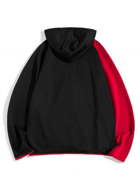 Colorblock拼接插肩袖拉鍊拉上夾克 - 黑色 2XL Mobile