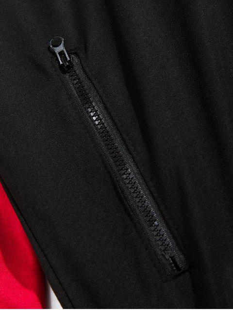 Colorblock拼接插肩袖拉鍊拉上夾克 - 黑色 3XL Mobile