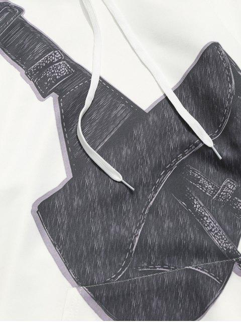 斜挎包印刷小袋連帽衫 - 白色 2XL Mobile