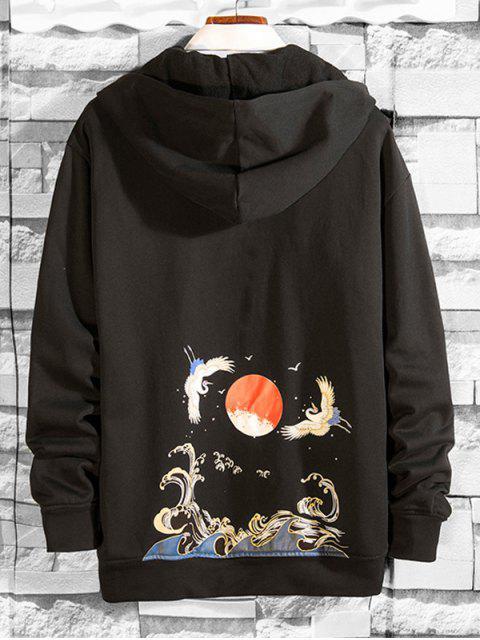 海浪起重機打印休閒帽衫 - 黑色 S Mobile
