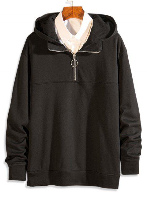 海浪起重機打印休閒帽衫 - 黑色 XL Mobile