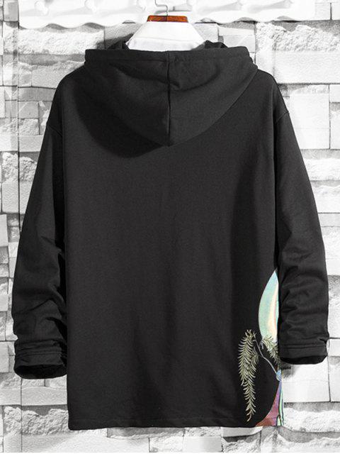 東方圖形打印抽繩連帽外套 - 黑色 XL Mobile