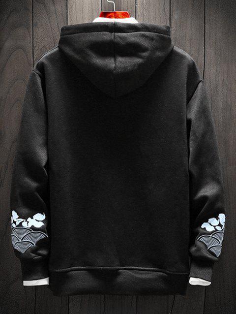 竹刺繡口袋模糊連帽衫 - 黑色 3XL Mobile