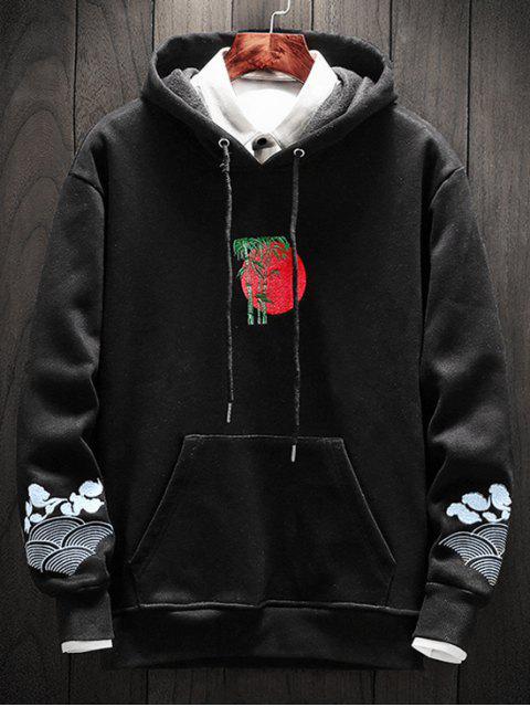 竹刺繡口袋模糊連帽衫 - 黑色 4XL Mobile