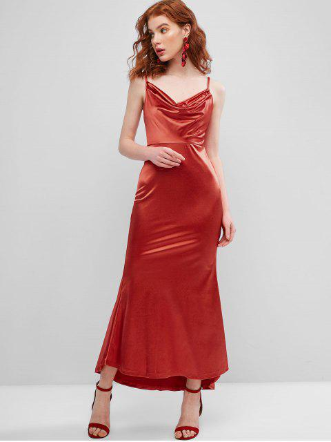 latest Cowl Front Satin Maxi Mermaid Dress - RED S Mobile
