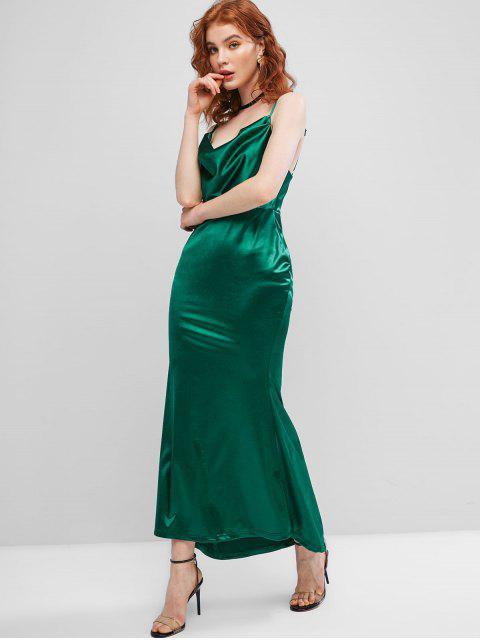 Vestido Maxi Sereia Frente Única de Cetim com Capuz - Verde profundo S Mobile