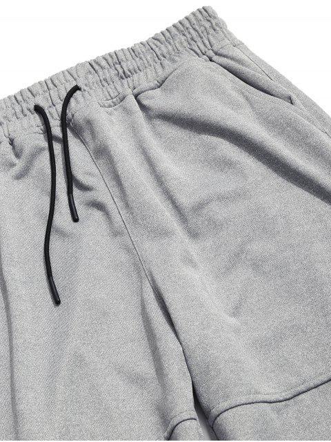 shop Solid Applique Drawstring Wide Leg Pants - LIGHT GRAY S Mobile