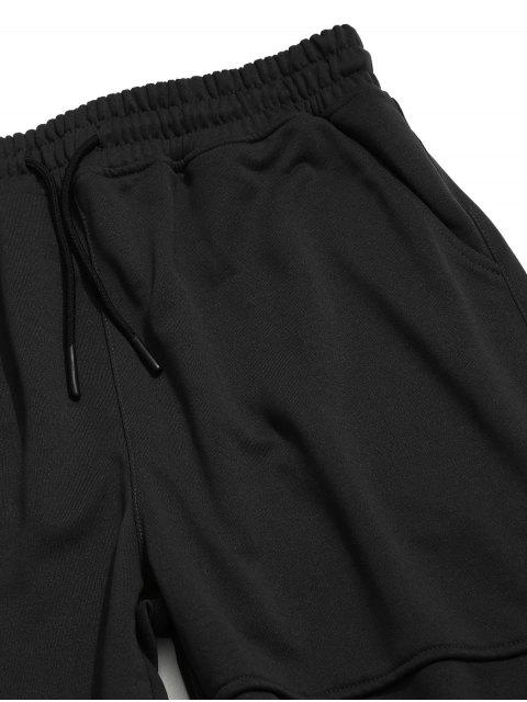 womens Solid Applique Drawstring Wide Leg Pants - BLACK XS Mobile