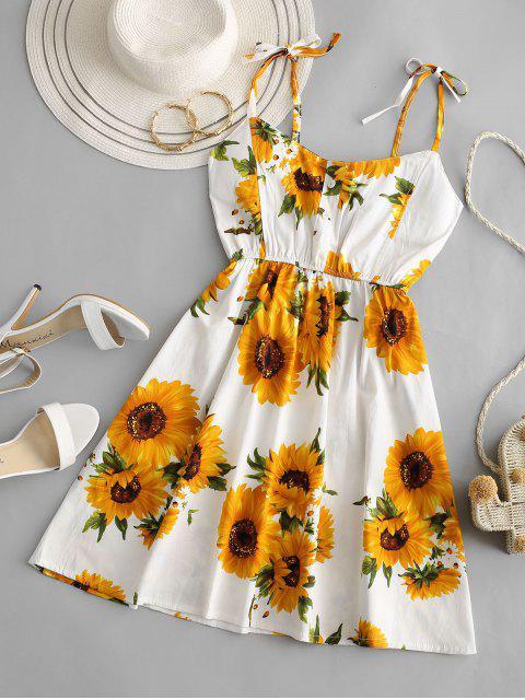 sale Sunflower Smocked Tie Shoulder Mini Dress - WHITE S Mobile