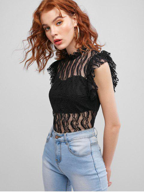 lady Lace Panel Cap Sleeves Bodysuit - BLACK S Mobile